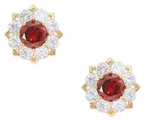 Modern Edge Crystal cubic zirconia CZ rosette stud earrings