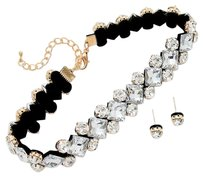 Modern Edge crystal rhinestone rhombus band choker necklace Set