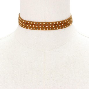 Modern Edge Metal studded long Vegan suede choker wrap tie necklace