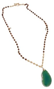 Modern Edge Natural stone pendant double layer beaded toggle necklace