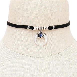 Modern Edge New Double metal horn faux suede tie choker necklace