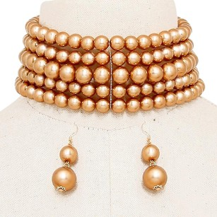 Modern Edge Wide multi-row pearl choker neclace Set