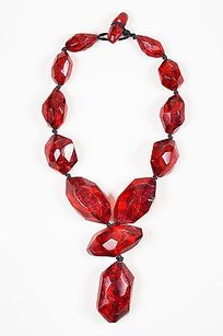 Monies Vintage Monies Red Resin Chunky Beaded Pendant Statement Necklace