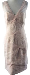 Monique Lhuillier Blush Knotted Tulle Sleeveless Sheath Modern Bridesmaid/Mob Dress Size 6 (S)