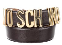 Moschino Black leather Moschino gold tone letter charms belt XXS