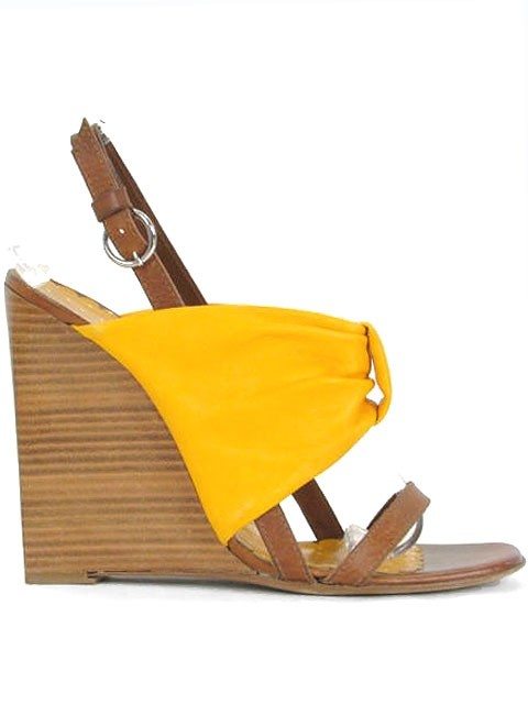 moschino mustard yellow cheap chic bow wedges sandals