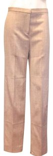 Moschino Cheap And Chic Tan Wool Flat Front Trousers Hs2121 Pants