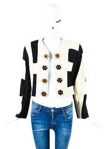Moschino Moschino Cheap And Chic Cream Black Crepe Flower Button Cropped Blazer