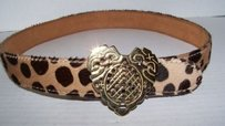 Moschino Moschino Italy Redwall Pony Fur Gold Heart Belt