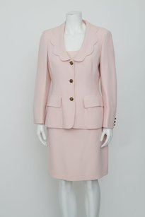 Moschino Moschino Cheap Chic Pink Scalloped Jacket Silk Top Vtg Pencil Skirt Suit 408