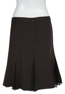 Moschino Womens Color Block Pleated Knee Length Casual Wtw Skirt Brown