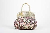 Moschino Gold Tone Metallic Satchel in Multi-Color