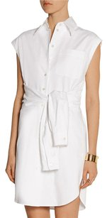 Moschino short dress White Sleeveless Button Down Shirt Tie Waist Tunic Mini 382 on Tradesy