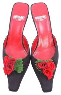 Moschino Vintage Black and Red Mules