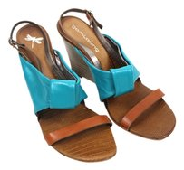 Wedge Wood Tan, Turquoise Wedges