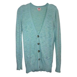 Mossimo Supply Co. Turquoise Sweater Pockets Buttons Cardigan