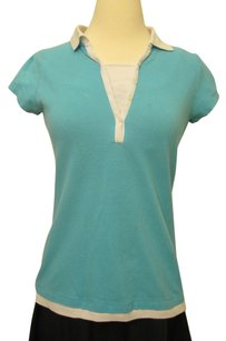 Other Cotton V-neck Polo Short Sleeve White Collar Top Sky Blue