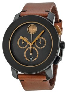 Movado Chronograph Black Dial Cognac Leather Men's Watch