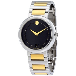 Movado Concerto Black Dial Two-Tone Stainless Steel Bracelet Men's Watch