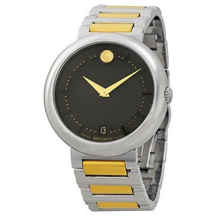 Movado Concerto Black Dial Two-tone Stainless Steel Bracelet Mens Watch