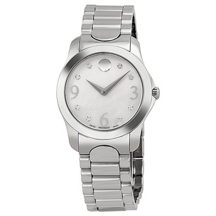 Movado Diamond Mother of Pearl Dial Stainless Steel Ladies Watch MV0606696