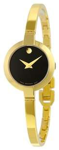 Movado MOVADO Bela Black Dial Gold PVD Stainless Steel Ladies Watch MV0606999