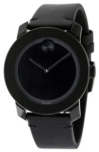 Movado MOVADO Bold Black Museum Dial Black Leather Unisex Watch MV3600306