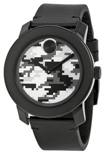 Movado MOVADO Bold Camouflage Dial Black Rustic Leather Men's Quartz Watch MV3600300