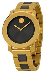 Movado MOVADO Bold Grey Sunray Dial Yellow Gold and Grey Ion-Plated Stainless Steel Band Ladies Quartz Watch MV3600338