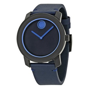 Movado Movado Bold Navy Blue Dial Blue Leather Band Navy Blue Stainless Steel Case Men