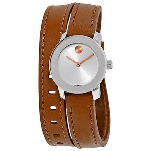 Movado Movado Bold Silver Dial Brown Leather Strap Ladies Watch