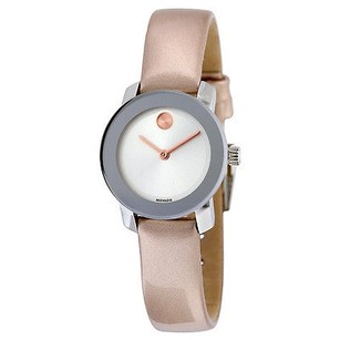 Movado Movado Bold Silver Rose Gold Leather Quartz Ladies Watch