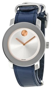 Movado Movado Bold Silver Tone Sunray Dial Leather Strap Watch
