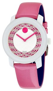 Movado MOVADO Bold White Dial with Pink Pave Crystal Dial Watch