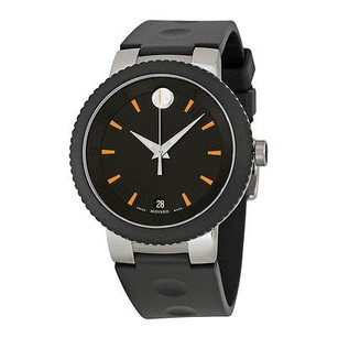 Movado Movado Sport Edge Black Dial Black Rubber Strap Mens Watch
