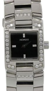 Movado Ladies Movado Eliro .72ct Diamond Stainless Steel Quartz Dress Square Watch