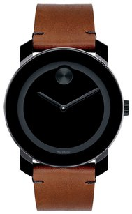 Movado New Movado Men's Swiss Bold Brown Leather Strap Watch 42mm