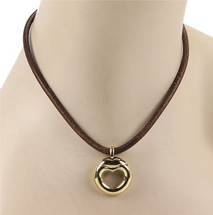 Movado Movado 18k Yellow Gold Heart Pendant Necklace With Leather Cord