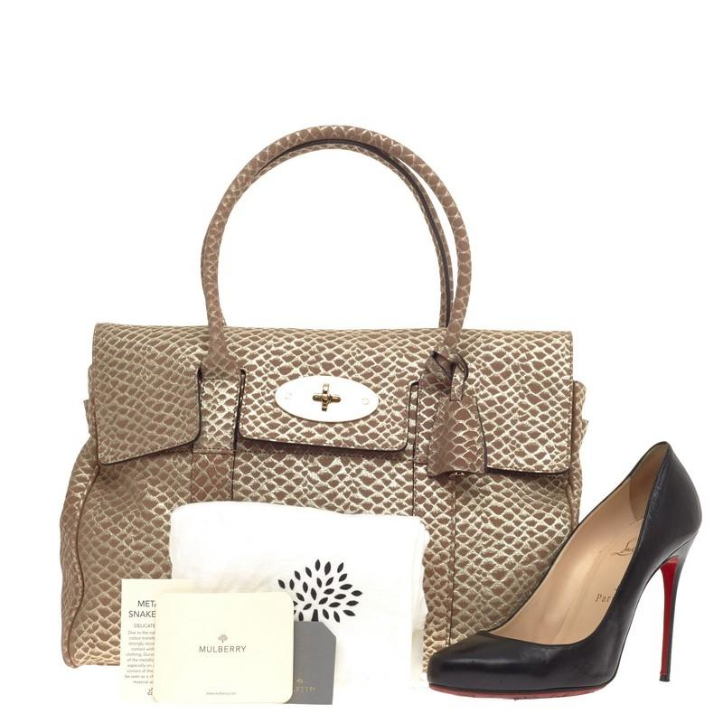 63a202d11b7 free shipping mulberry bayswater embossed medium gold suede satchel tradesy  e48e3 f6660