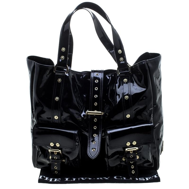 d15fe50e50a ... spain mulberry roxanne black patent leather canvas tote tradesy 841dc  3d449 ...