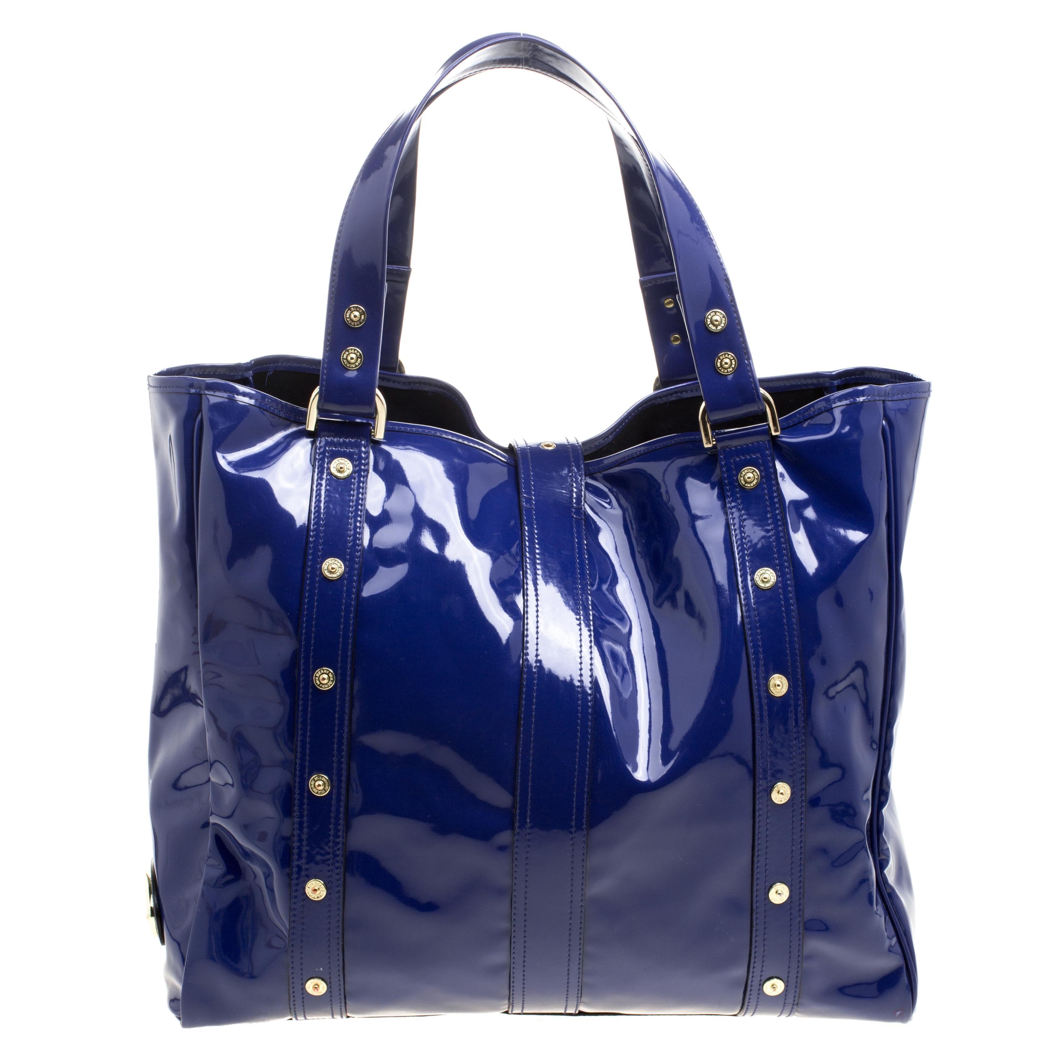... discount mulberry roxanne blue patent leather canvas tote tradesy 81ef6  33816 0865ab07d54f4