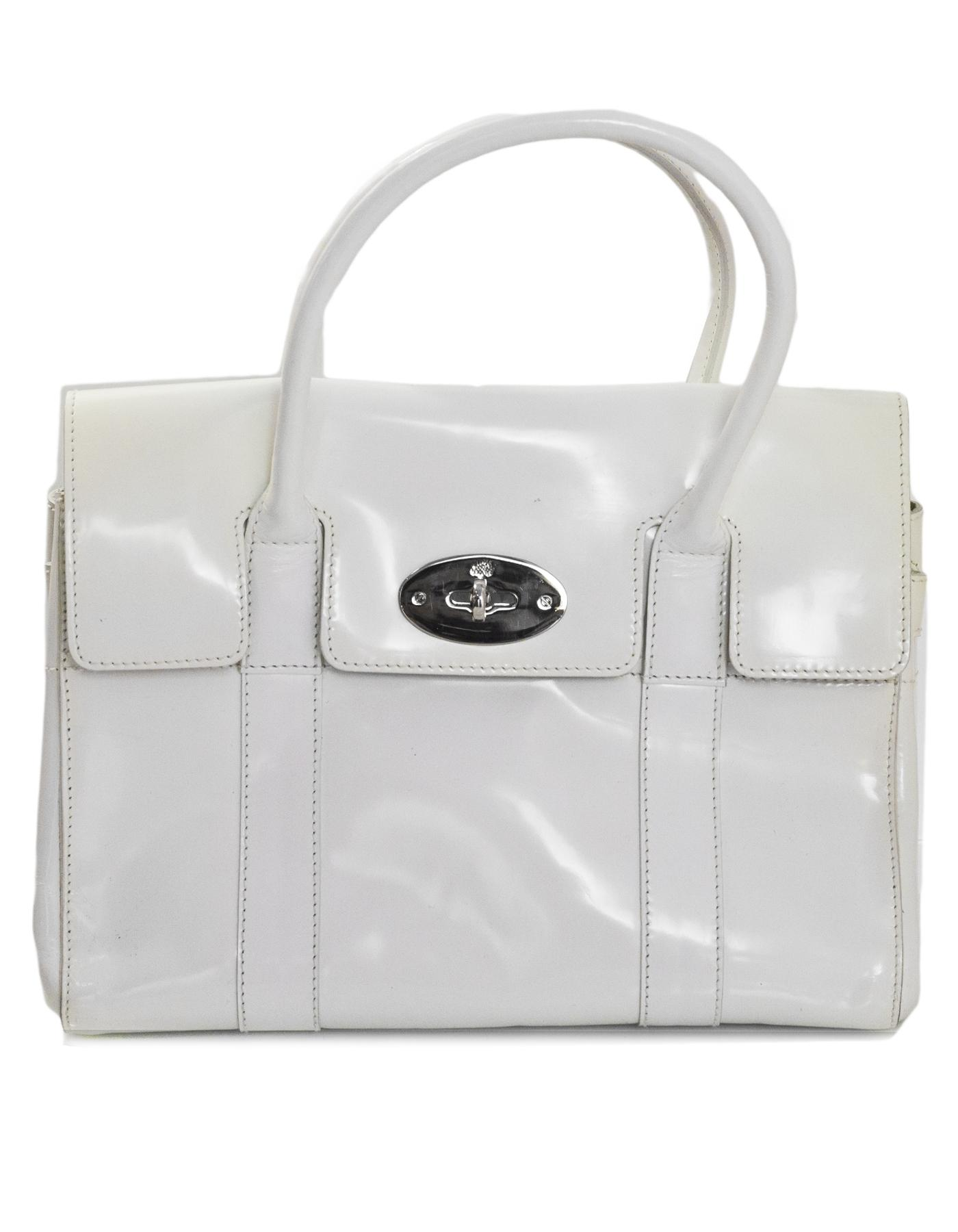Mulberry White Patent Leather Small Bayswater Bag With Dust Bag 0kLVY5ipWO
