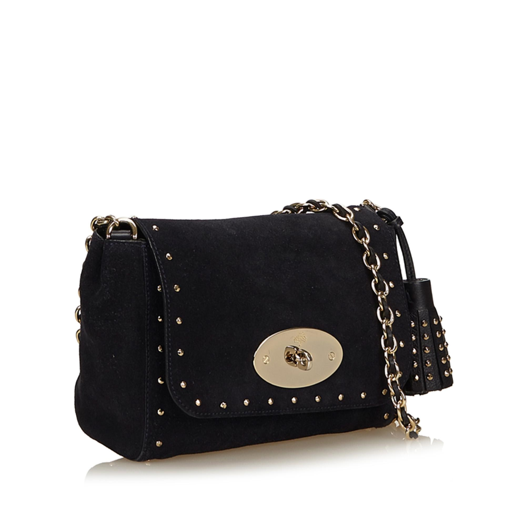 770fab2646 ... get mulberry studded lily black leather x suede x metal x others shoulder  bag tradesy d9343