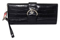 Nwt Croc Embossed Wristlet in black