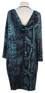 Muse short dress Teal / Gray / Black Womens Animal Print Shift Above Knee 34 Sleeve on Tradesy