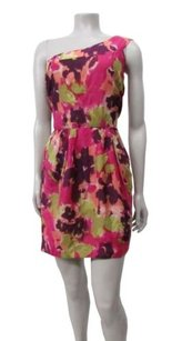 Myne Ashley Ann Watercolor Floral Silk One Dress