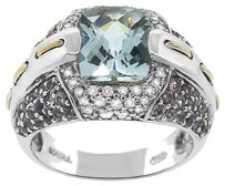 0.39CT DIAMOND 18K WHITE GOLD AND BLUE STONE COCKTAIL RING SIZE 5-8
