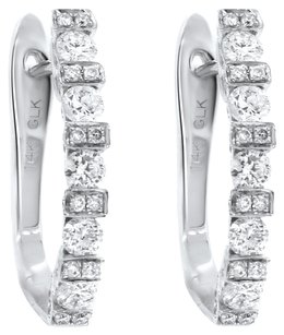 1.10CT DIAMOND 14K WHITE GOLD OMEGA EARRINGS