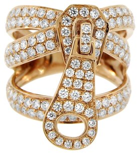 2.24ct Diamond 18k Rose Gold Zipper Ring Size 4-10