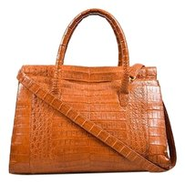 Nancy Gonzalez Caiman Crocodile Leather Double Handle Tote in Tan